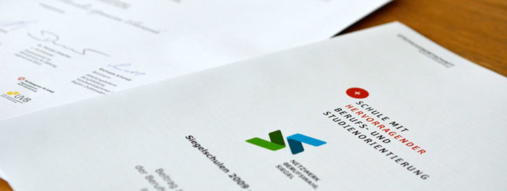 """Einladung zur Bewerbung zum Berufswahl-SIEGEL """"Schule mit hervorragender Berufs- und Studienorientierung 2019-2023"""""""